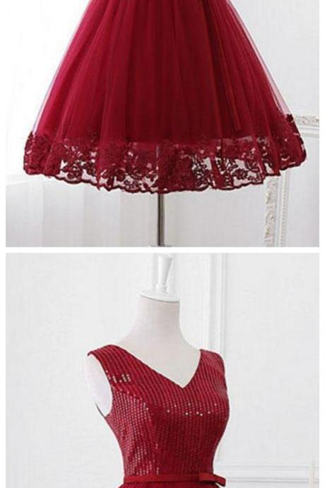 v neck sequins tulle short prom dress, homecoming dress