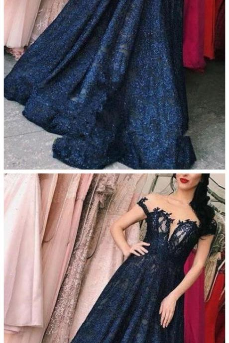 Dark Blue Long Prom Dress