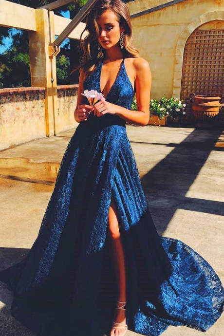 Elegant Halter Sleeveless Split Sweep Train Navy Blue Lace Sweep Train Prom Evening Dres