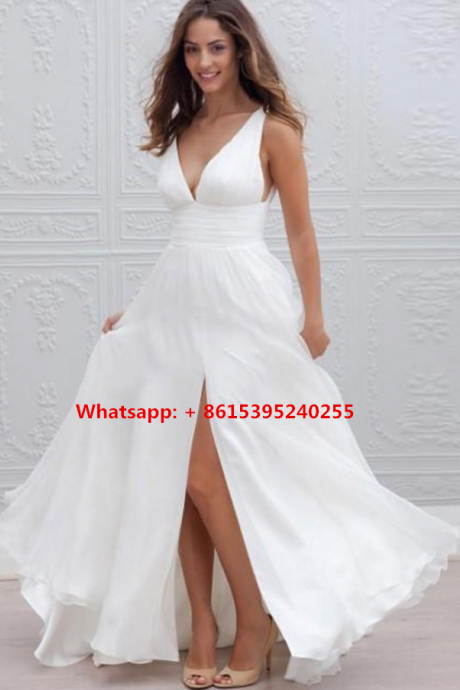 Sexy Prom Dress White Chiffon A Line Evening Dresses Cheap Cap Sleeve Prom Dresses