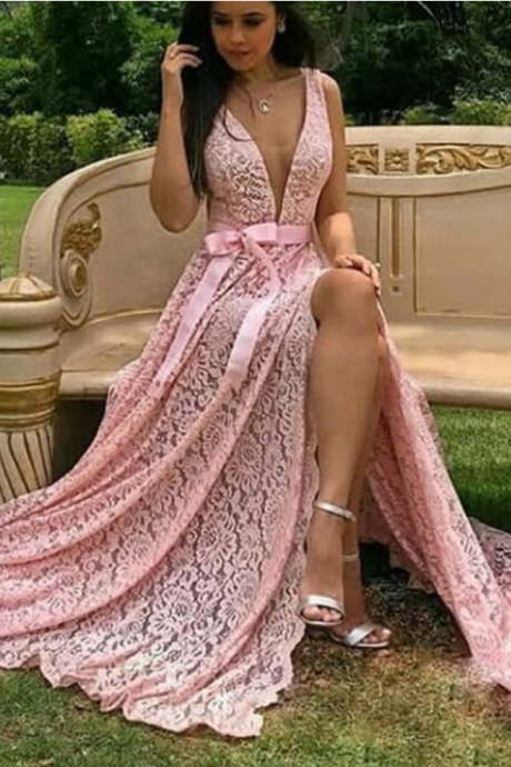 Charming Pink Prom Dress, High Slit Lace Prom Dresses, Long Evening Dress Prom Dresses