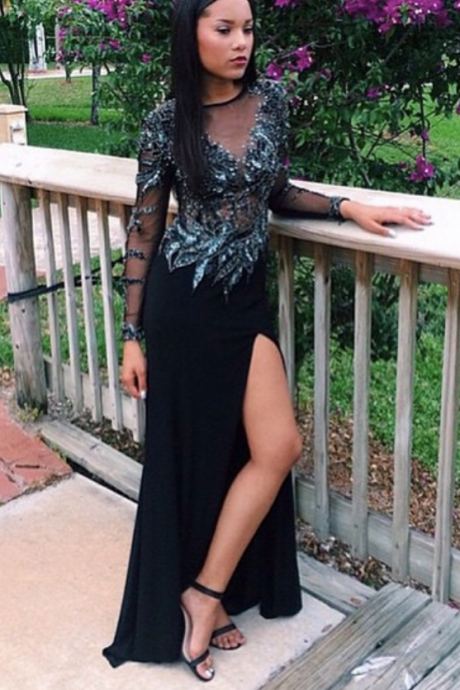 Black Prom Dresses,Mermaid Prom Dress,Formal Gown,sexy Evening Gowns,Party Dress,Long Sleeves slit Prom Gown For Teens
