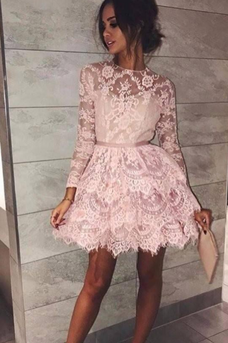 Sweet long sleeves pink knee length appliques homecoming dresses Short prom cocktail evening gowns party guest