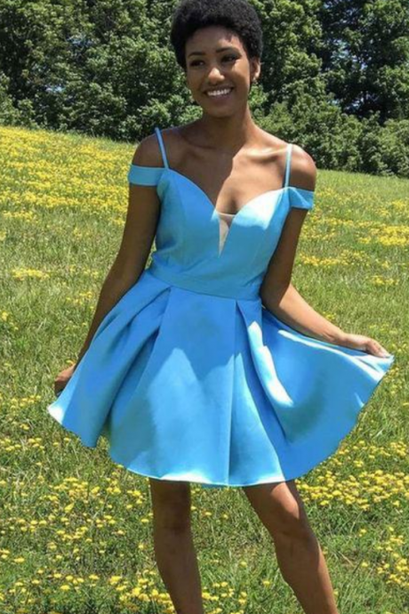 Hot Selling Off Shoulder Sky Blue Short Homecoming Dresses with Bowknot Under 100 Women's Short Prom Gowns