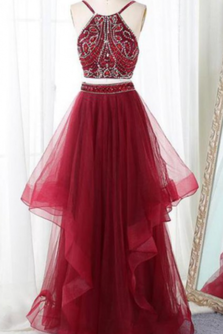 Prom Dresses Two Piece, Evening Dresses Long, Prom Dresses,Floor Length Prom Dress