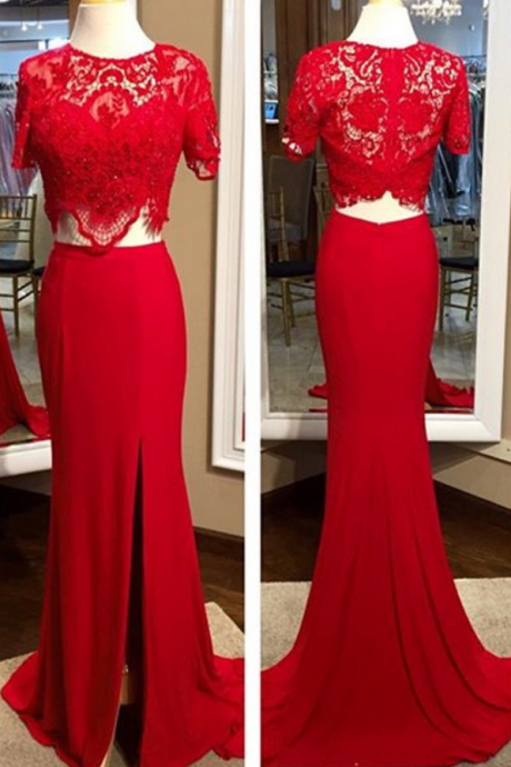 Custom Made Charming Red Two Pieces Prom Dresses, Red Lace Beading Prom Dress,Sexy Side Slit Prom Dress