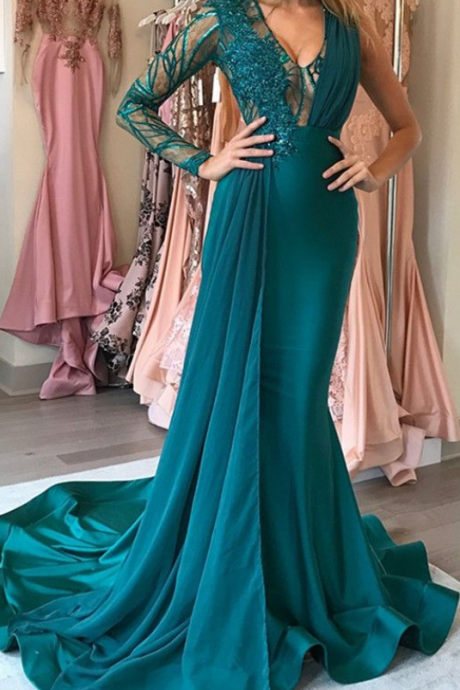 Green Long-Sleeve Prom Dress ,Chiffon Long Evening Gowns With Applique