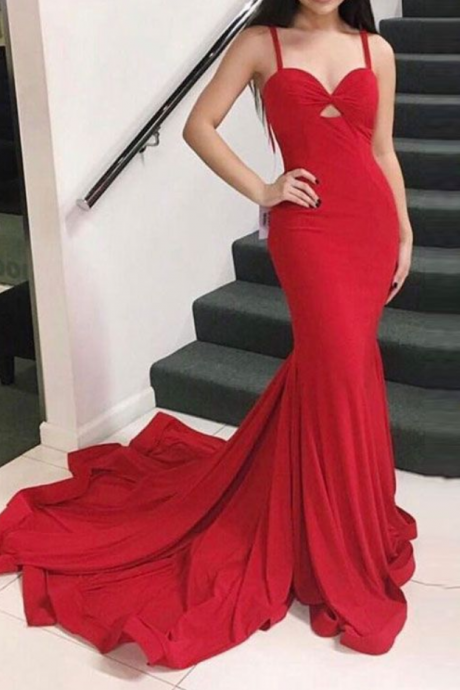 Charming Red Prom Dress,Sexy Prom Dress,Long Prom Dresses,Evening Party Dress,Mermaid Formal Evening Dress ,Custom Made,Party Gown,Cheap Evening dress