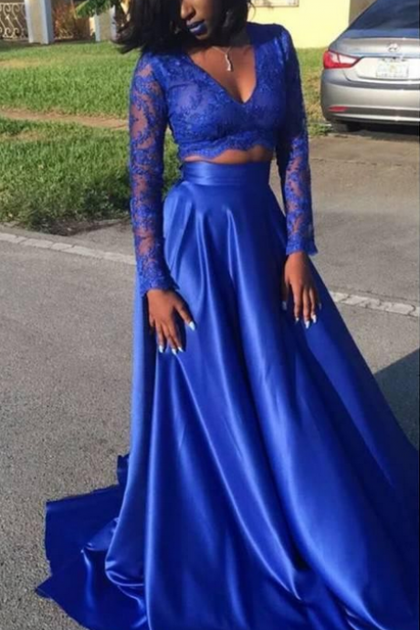 Two Pieces Party Dress,Black Girl Prom Dress,Long Sleeves Prom Gown,Two Pieces Long Sleeves Royal Blue Prom Dress