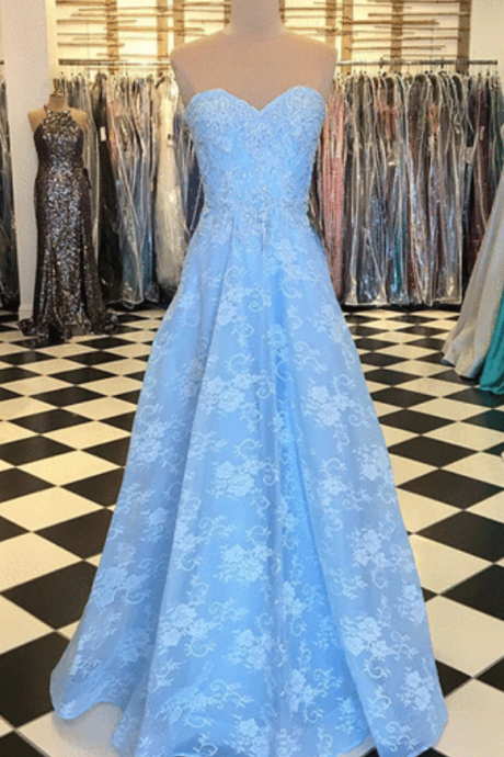 Blue lace sweetheart neck long strapless prom dress, evening dress