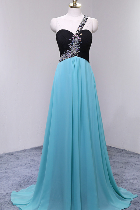 Long Chiffon Prom Dresses Featuring Sweetheart Neckline And One Shoulder