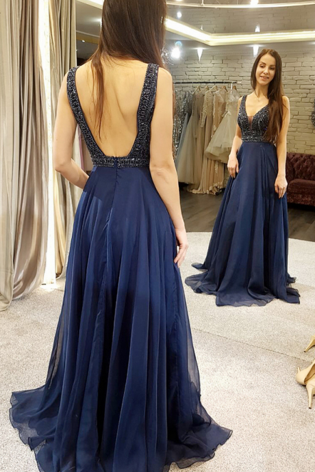 Backless Long Prom Dress, Navy Blue Tulle Long Prom Dress, Party Dress