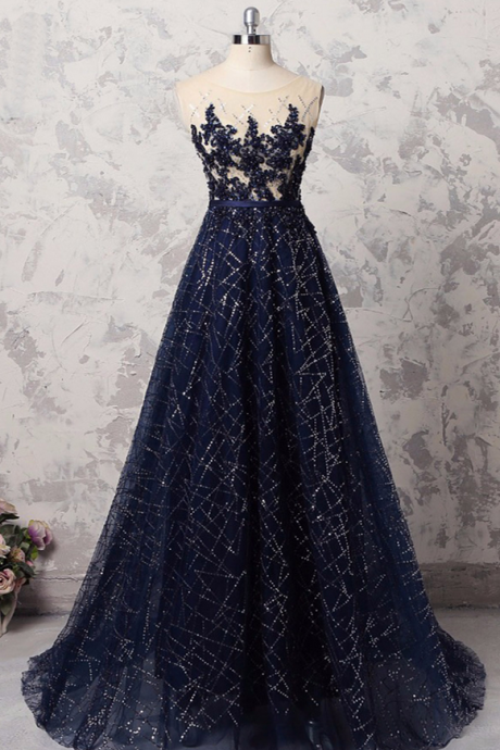 Navy blue, sequins tulle long, halter formal prom dress with appliques,Evening Dress