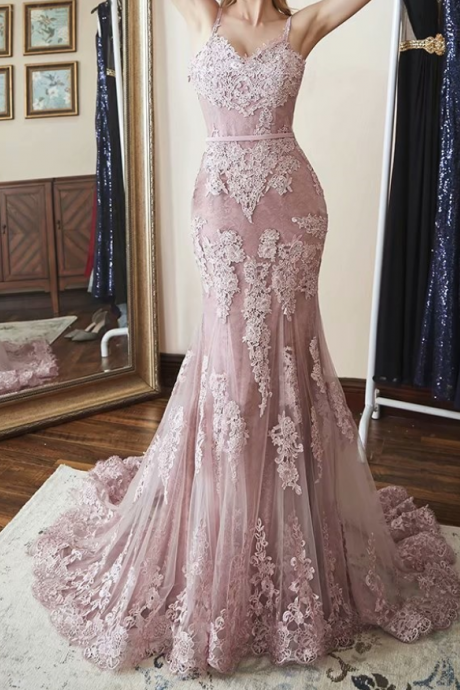Long Prom Dress Spaghetti Straps Pink Mermaid Lace Prom Dress,Lace Applique Evening Dress