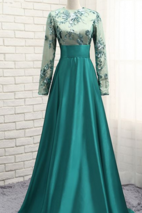 Green Muslim Evening Dresses A-line Long Sleeves Satin Sequins Elegant Long Saudi Arabic Evening Gown Prom Dresses ,Custom Made,Party Gown,