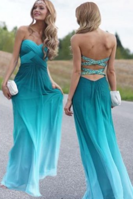 new Elegant blue chiffon prom Dress strapless sweetheart Evening Dresses