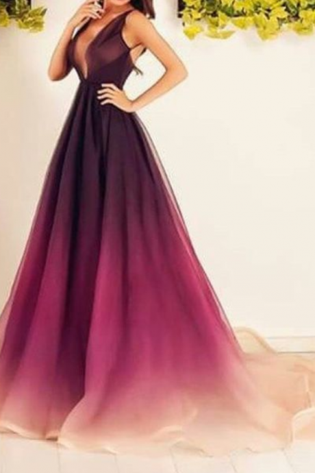Sexy V-neck Prom Dress,A-line Ball Gowns,Backless Formal Prom Dress