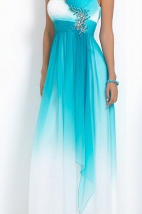 Elegant Beading Empire One Shoulder Prom Dress