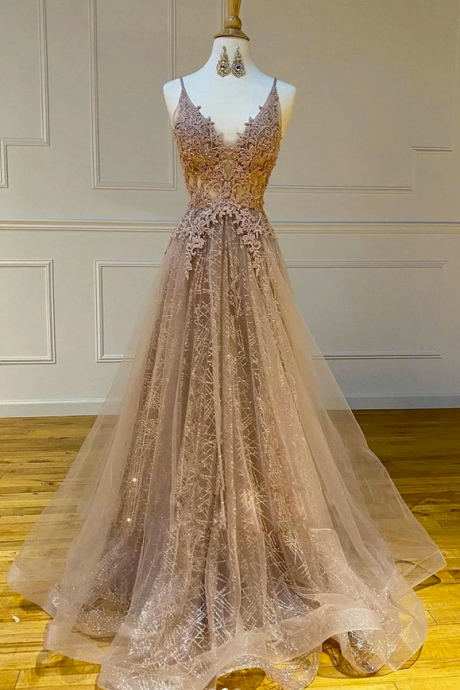 Champagne Tulle Long Dress V Neck A Line Customize Lace Prom Dress
