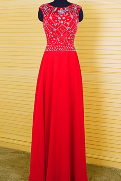 Bright Colored Prom Dresses ,A Line Prom Dresses ,O Neck Prom Dresses , Red Prom Dresses ,Chiffon Prom Dresses ,Backless Prom Dresses ,Appliques Beading Prom Dresses