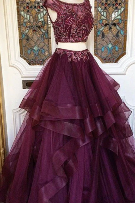 New Arrival two pieces burgundy sequin prom dress, long burgundy evening dress ,sweet dresses,graduation gowns