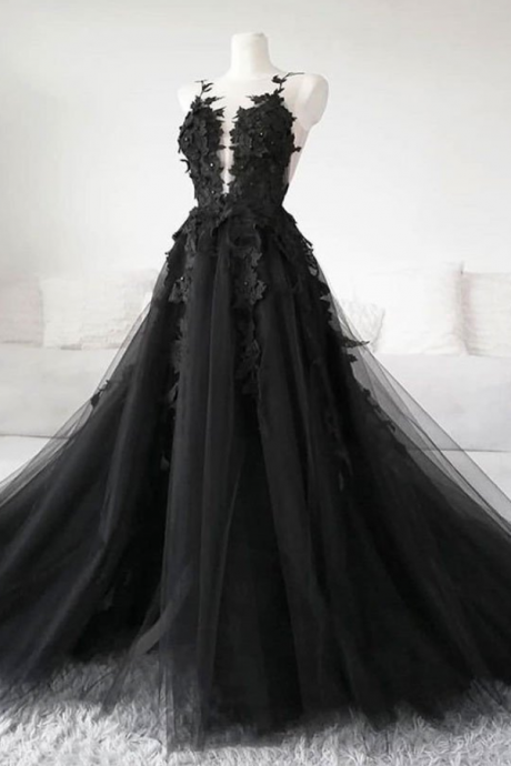 Black tulle applique long prom dress, fabulous custom made black evening dress