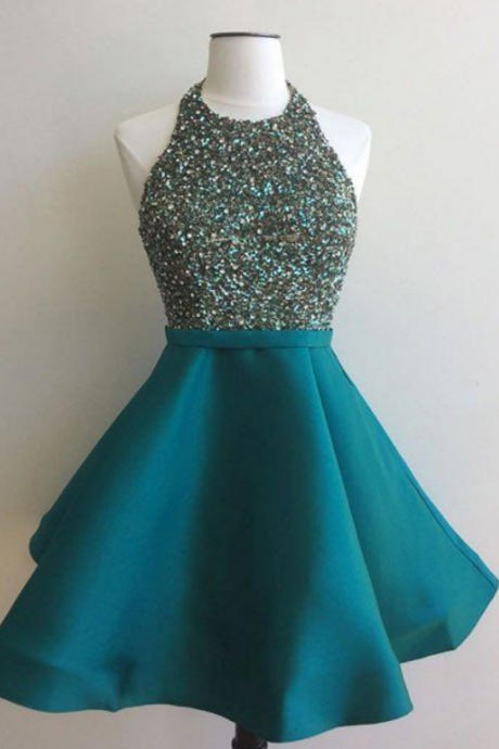 sequin short green prom dress, homecoming dress