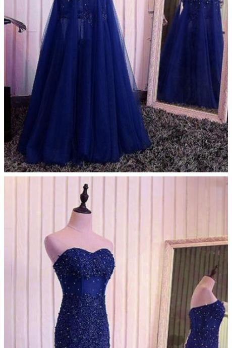 Blue Mermaid Lace Beaded Tulle Evening Dress