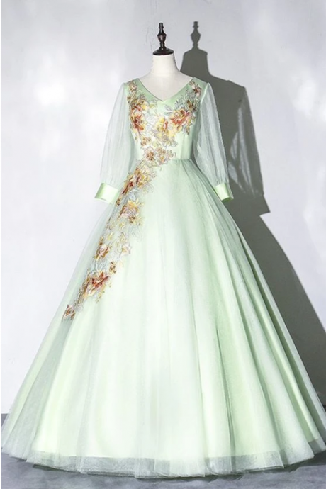 Long Sleeve Green Tulle Ball Gown Prom Dress, Formal Appliques Quinceanera Dress