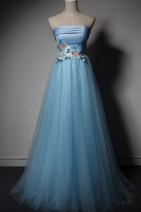 Blue Strapless Tulle A-Line Prom Dress, Blue Homecoming Dress