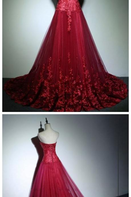 Sweetheart A Line Tulle Formal Evening Gowns Red Lace Long Prom Dresses