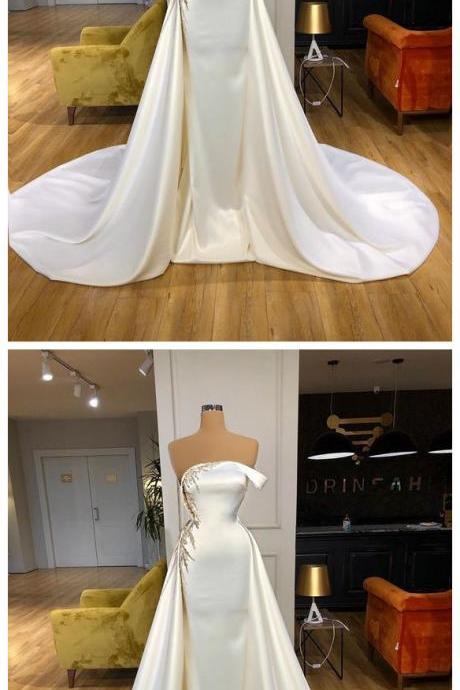 Charming White Long Prom Dress, Evening Dress