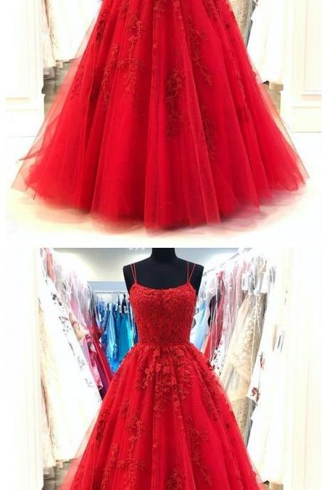 Amazing Spaghetti Straps Red Lace Prom Dresses Long Tulle Formal Party Gown