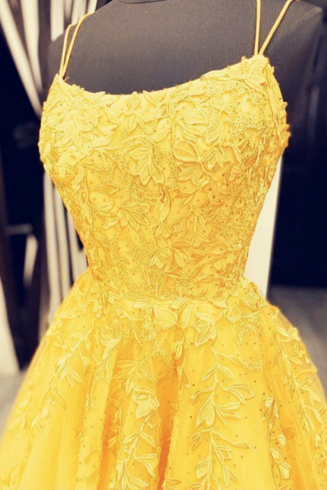 elegant yellow ball gown prom dresses 2020 lace appliques