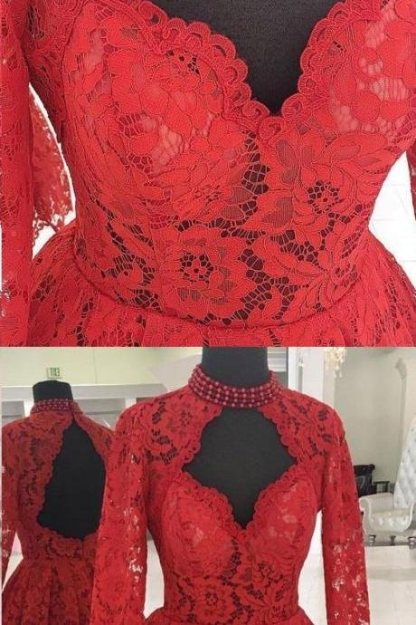 A-LINE HIGH NECK LONG SLEEVE HOMECOMING DRESS RED LACE SHORT PROM DRESS
