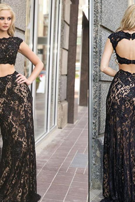 Sexy Boat Neck With Appliques Crop Top Two Pieces Mermaid Evening Dresses Prom Dresses Party Dresses Women Fashion Dresses