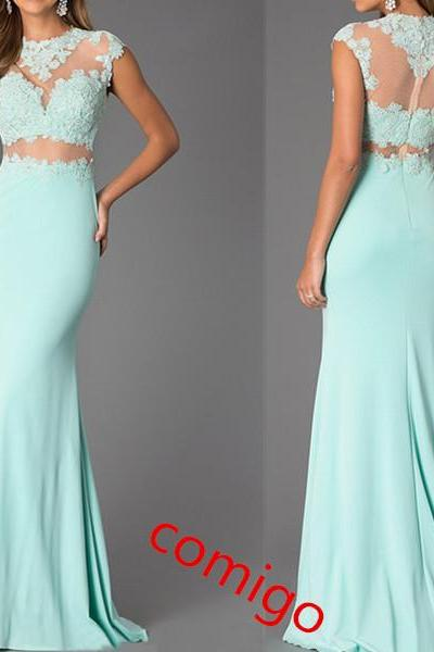 Custom Made Two-Piece Mint Lace High Neck Bare-Midriff Floor Length Prom Dress Handmade , Cheap Prom Dresses 2015 Prom Dress
