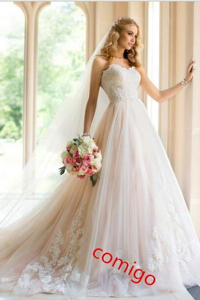 Sweetheart A-Line Pink Lace Wedding Dress Tulle Wedding Dress Champagne Lace Bridal Wedding Dress