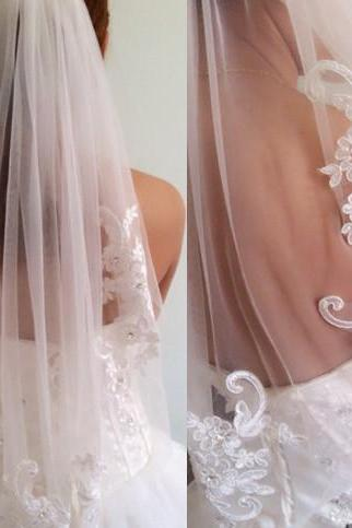 New arrival diamond veil short design single wedding veil bridal waist-length With Comb