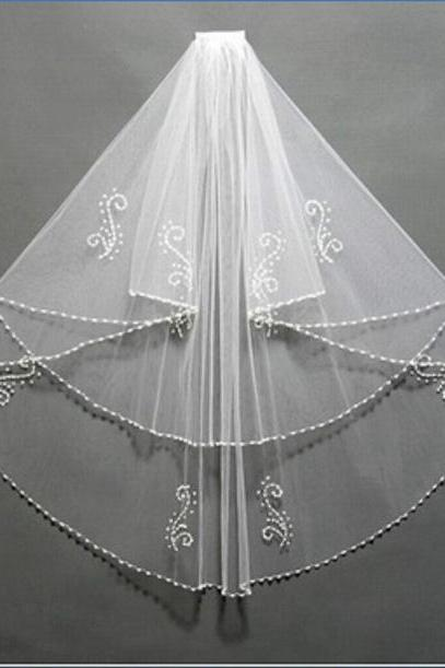 2T Bridal Beads Pearls Whith Comb WEDDING VEIL