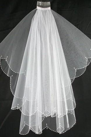 new fingertip length crescent edge crystal drops white lvory wedding accessories bridal veil