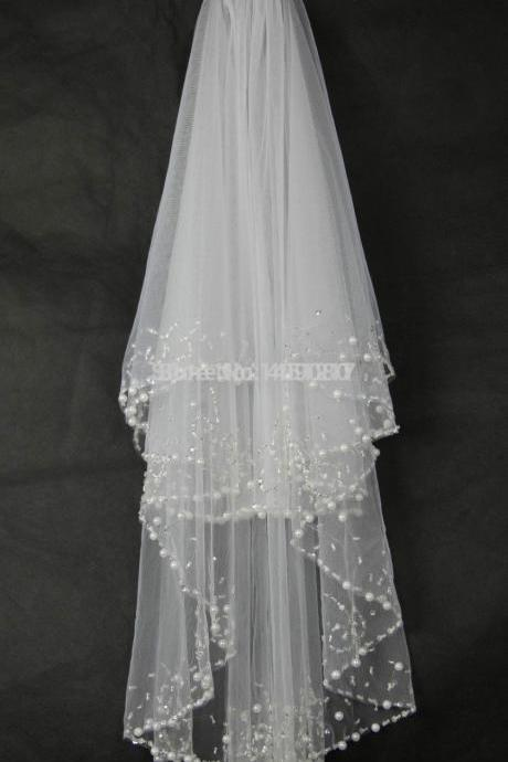 2T White/Ivory Beads Pearls Wedding Veil Bridal Veil With Comb