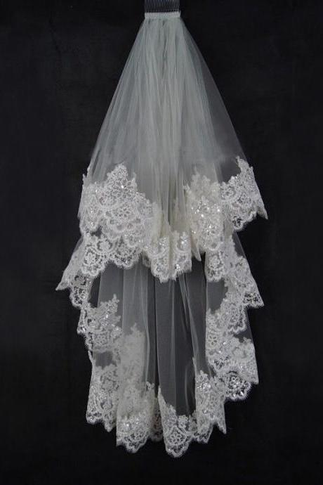 2 Layer Lace Edge with Sequins Fingertip Length Wedding Bridal Veil with Comb