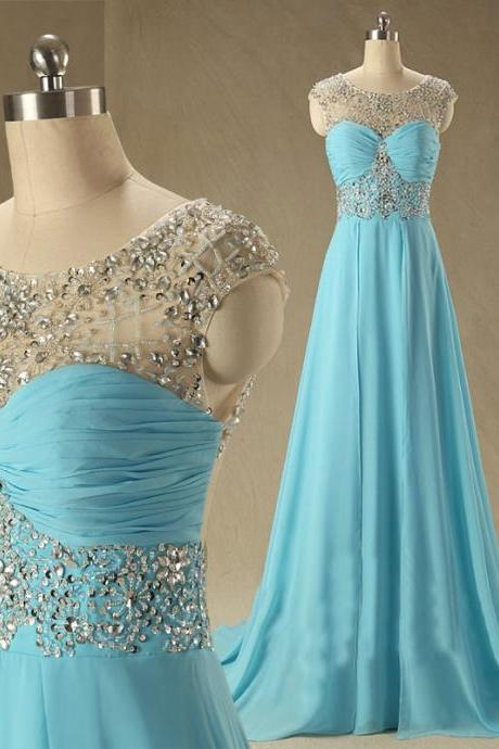 New Arrival Custom Prom Gowns, Cap Sleeve Blue Chiffon Graduation Dresses, A Line Floor Length Long Evening Party Dresses