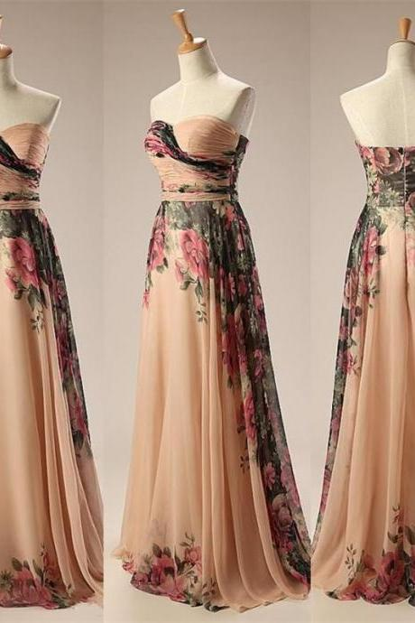 Cheap A Line Chiffon Vintage Floral Print Sexy Prom Dress Sweetheart Evening Gown Long Party Dresses Women Prom Dresses