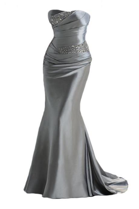 silver gray prom dresses,Long satin prom dresses,,mermaid evening dresses ,long prom dresses,dresses party evening,sexy evening gowns,formal dresses evening,celebrity red carpet dresses