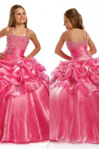 Hot Pink Girl Pageant Gowns Flower Girl Dress Party Gown Little Princess Dresses