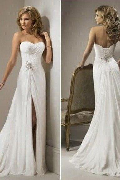 New White / ivory chiffon Bridal Gown beach Wedding Dress Size