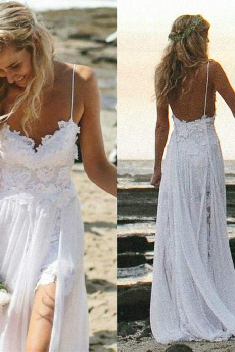 Long Beach Bride Evening Party Prom Wedding Dresses Backless Lace stock