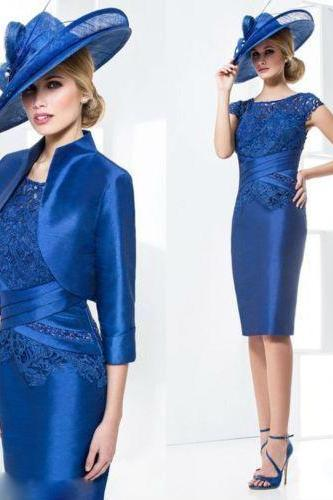 Knee-Length Mother Of The Bride Dress Wedding Formal Evening Dress +jacket free
